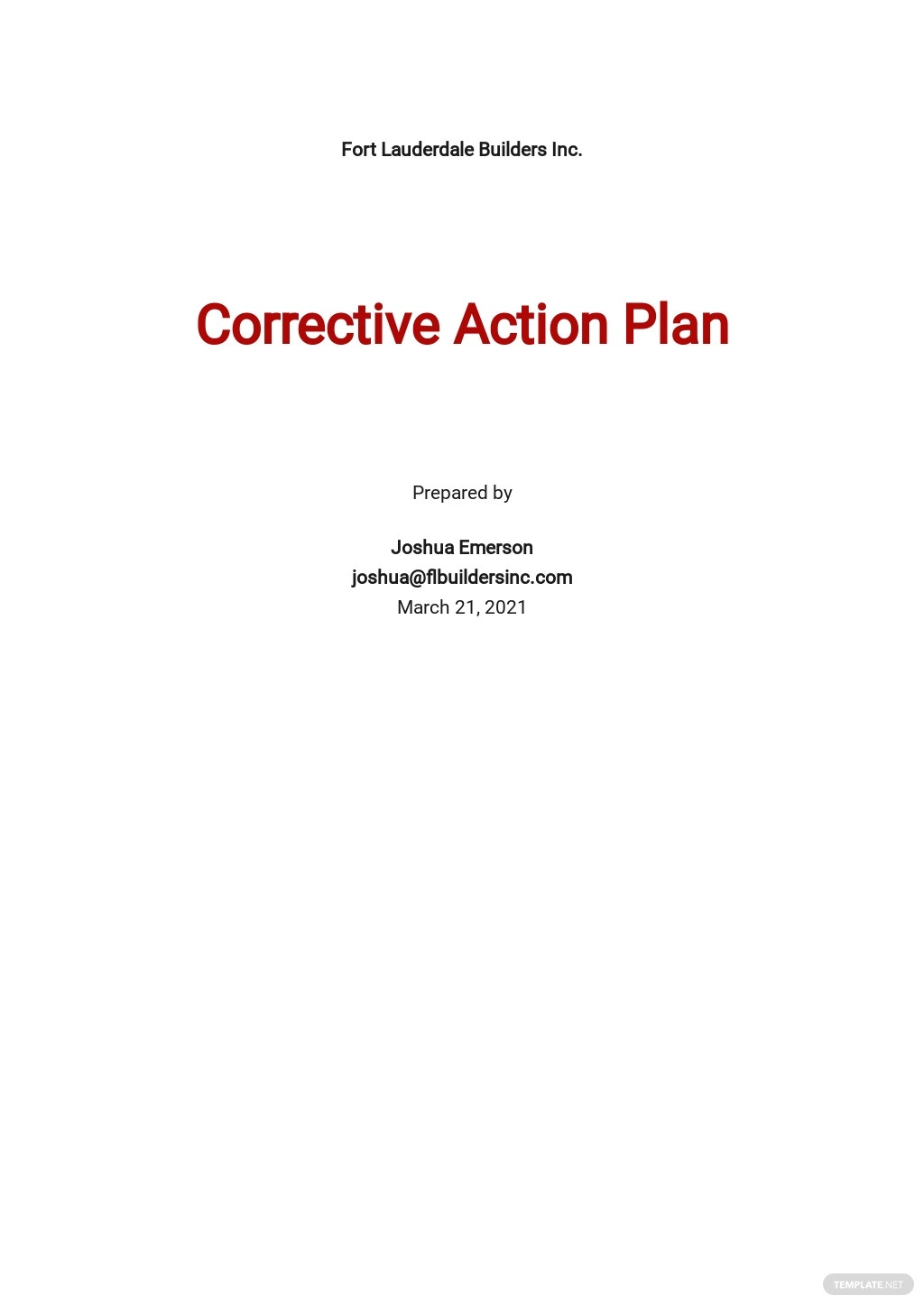 Construction Corrective Action Plan Template