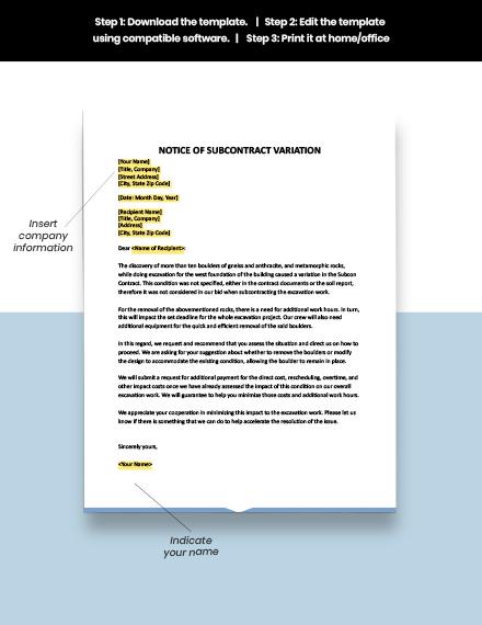 Notice of Subcon Variation Template download