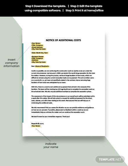 Notice of Additional Costs Template download