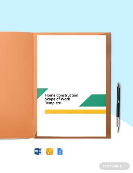 Home Construction Scope of Work Template