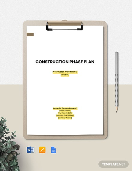 Construction Site Phase Plan Template