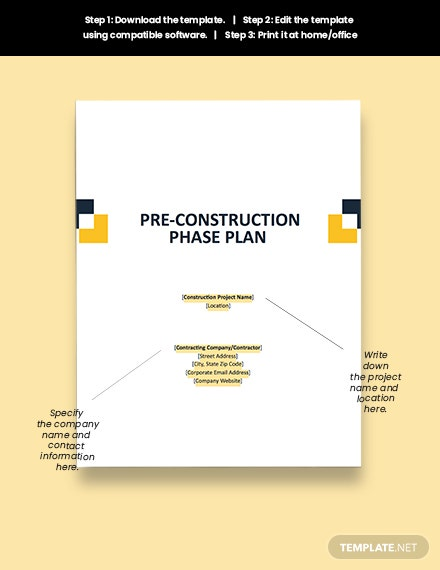 Pre Construction Phase Plan Download