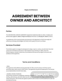 Agreement Between Owner and Architect Template