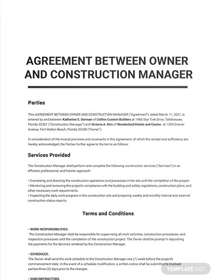 Agreement Between Owner and Construction Manager Template