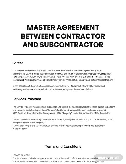 Master Agreement Between Contractor and Subcontractor Template