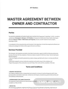 Master Agreement Between Owner and Contractor Template