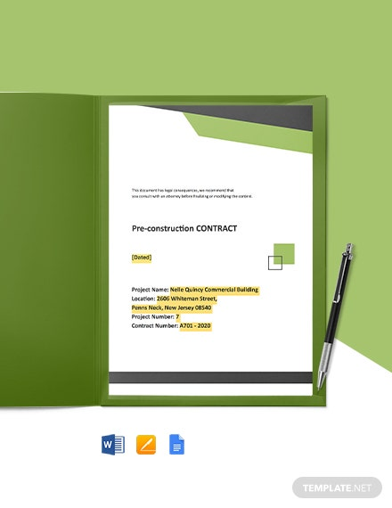 Pre Construction Contract Template