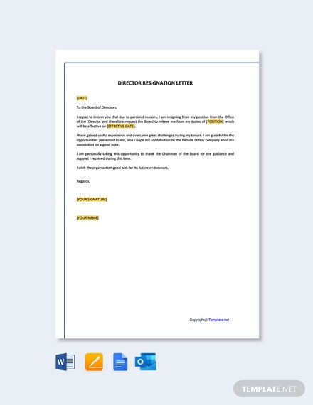 Free Director Resignation Letter Template