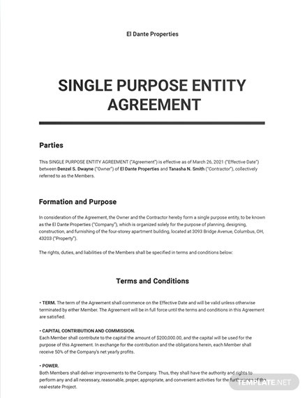 Single Purpose Entity Agreement Template