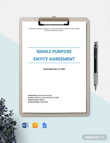 Single Purpose Entity Agreement Template