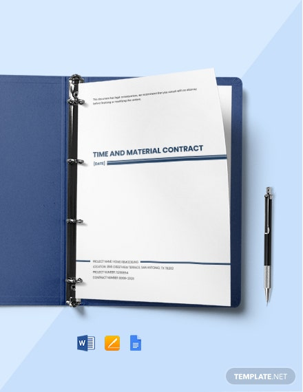Time and Material Contract in Project Management Template