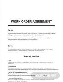 Work Order Agreement Template