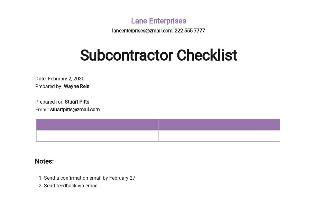Subcontractor Checklist Template