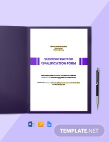 Subcontractor Qualification Form Template