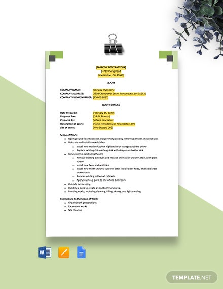 Subcontractor Quote Template