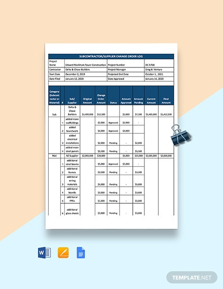 Subcontractor Supplier Change Order Log Template
