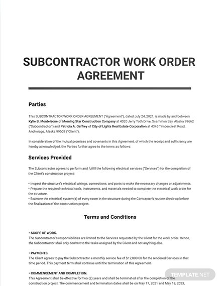 Subcontractor Work Order Agreement Template