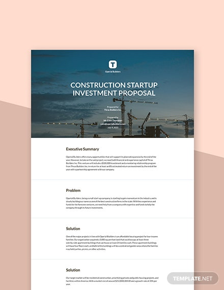 Construction Startup Investment Proposal Template