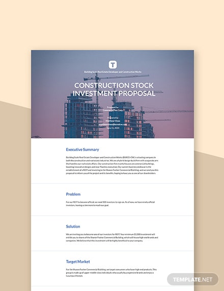 Construction Stock Investment Proposal Template