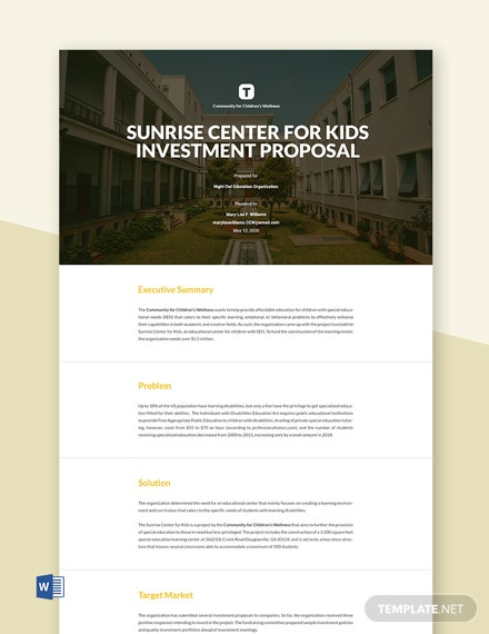 Free Sample Construction Investment Proposal Template