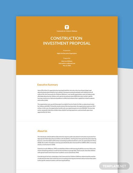 Free Simple Construction Investment Proposal Template