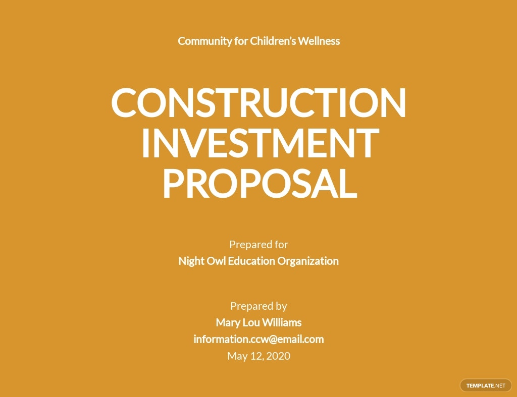 Simple Construction Investment Proposal Template