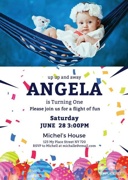 First Birthday Invitation Card