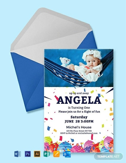 Free First Birthday Invitation Card Template Word Psd