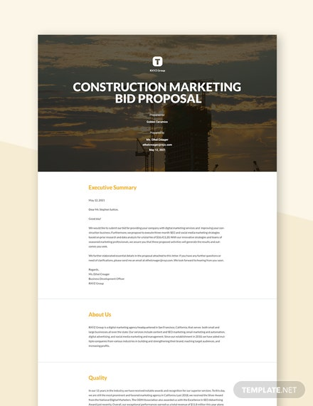 Construction Marketing Bid Proposal Template