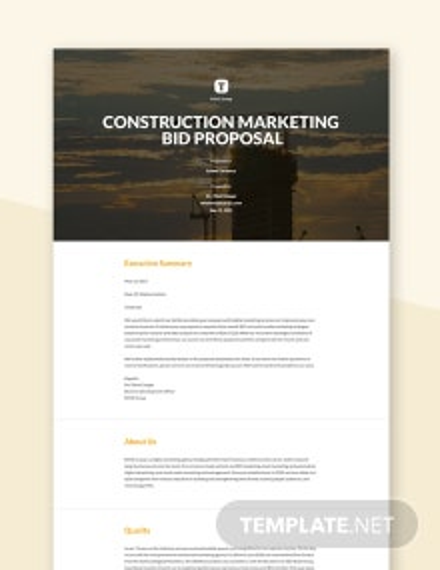 Construction Marketing Bid Proposal Template