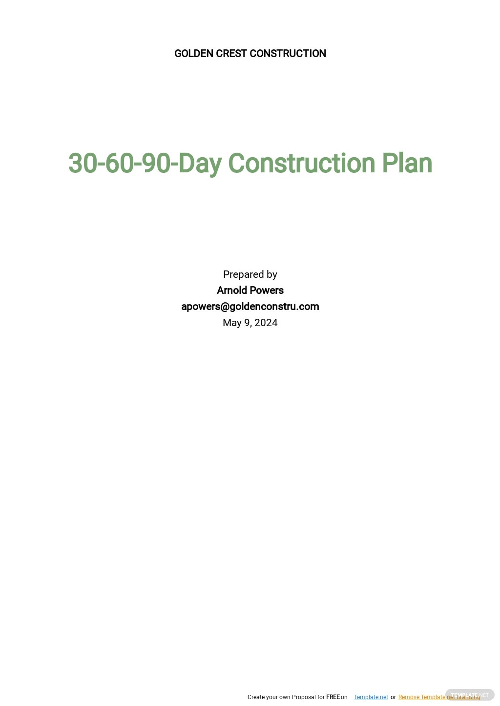 One Page 30 60 90 Day Construction Plan Template.jpe