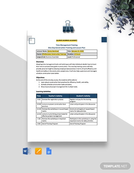 One Page Construction Lesson Plan