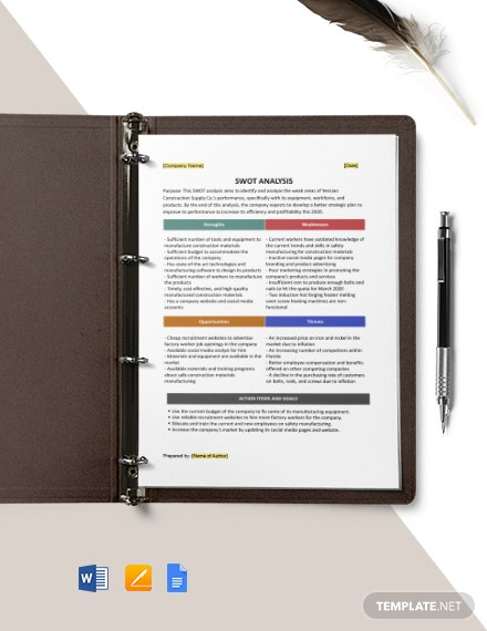 One page Construction swot analysis template