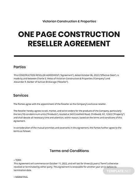 One Page Construction Reseller Agreement Template