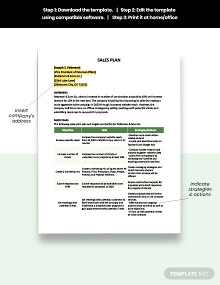 One Page Construction Sales Plan template download