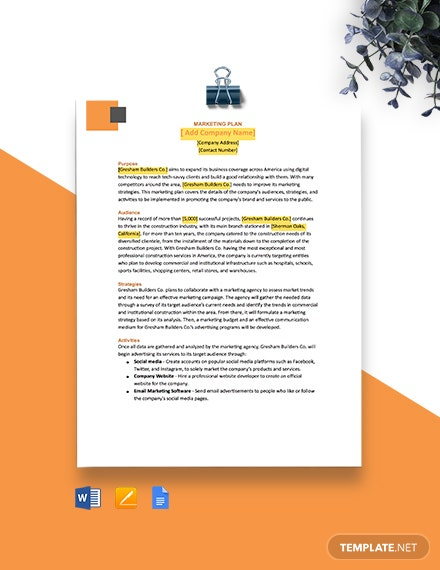 Quick One Page Construction Marketing Plan Template