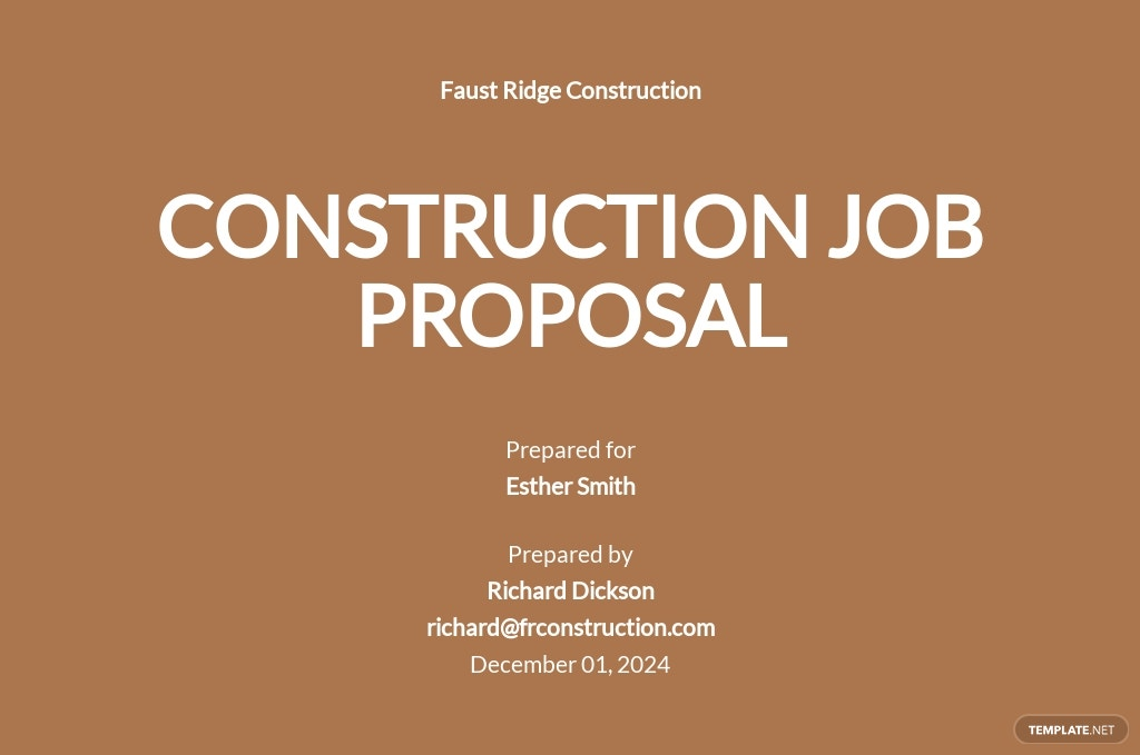 One Page Construction Job Proposal Template [Free PDF] - Google Docs, Word, Apple Pages