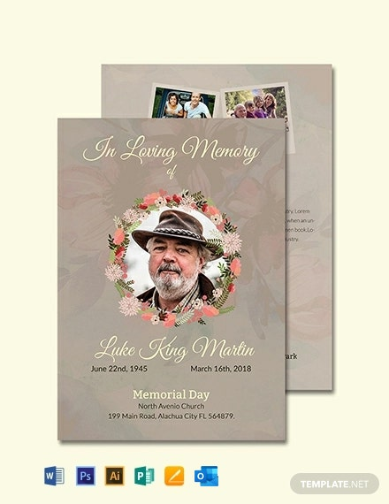 Catholic Funeral Program Invitation Template