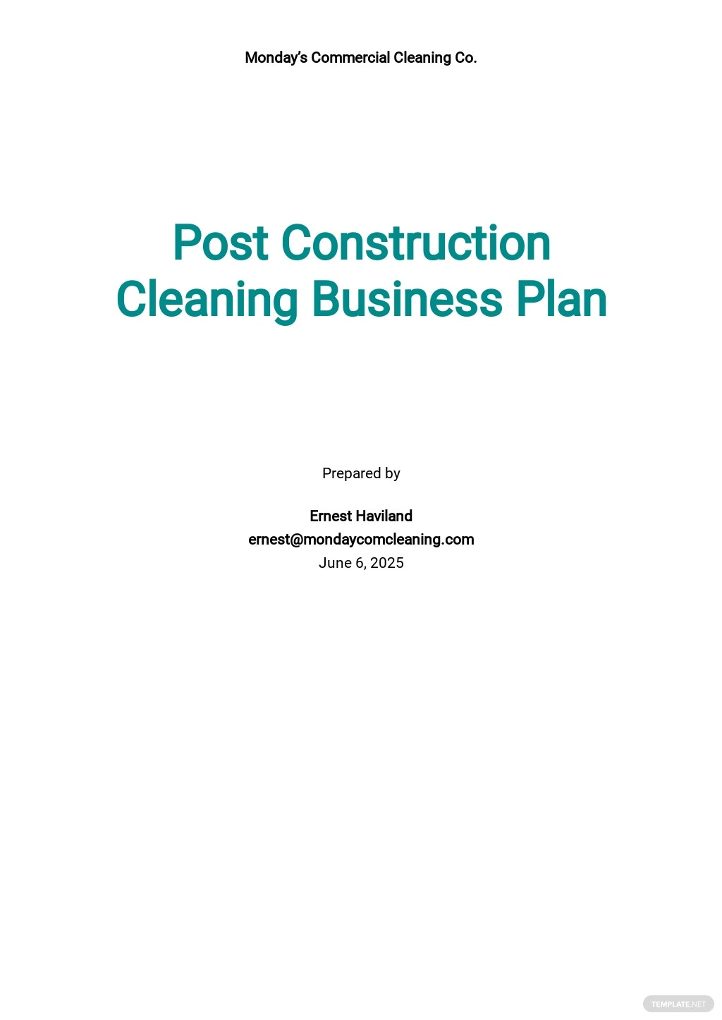 Post Construction Cleaning Business Plan Template