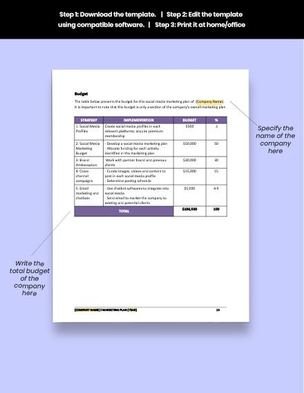 Construction Social Media Marketing Plan Format