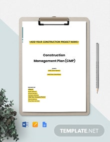 Construction Performance Management Plan Template