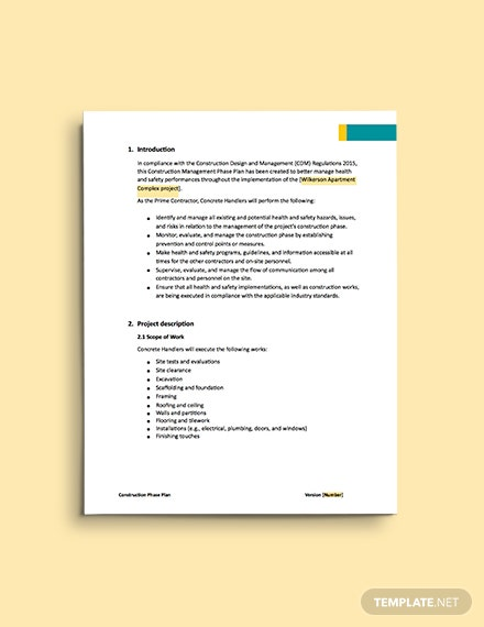 Construction Management Phase Plan template