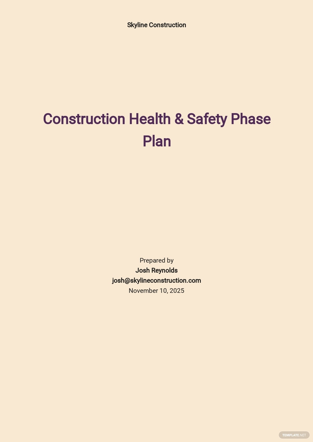Construction Health & Safety Phase Plan Template