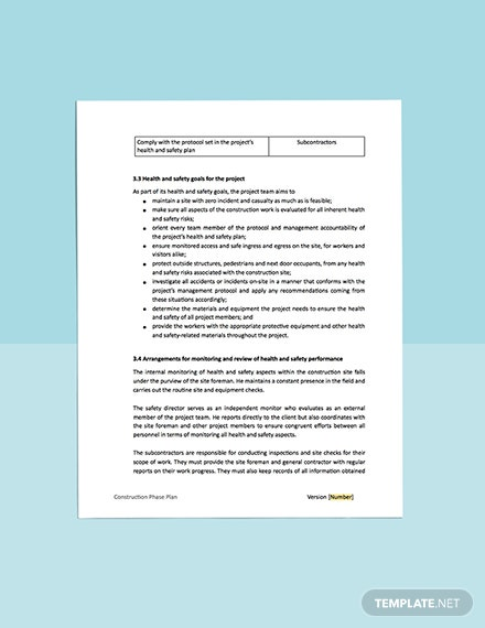 Construction Health  Safety Phase Plan printable