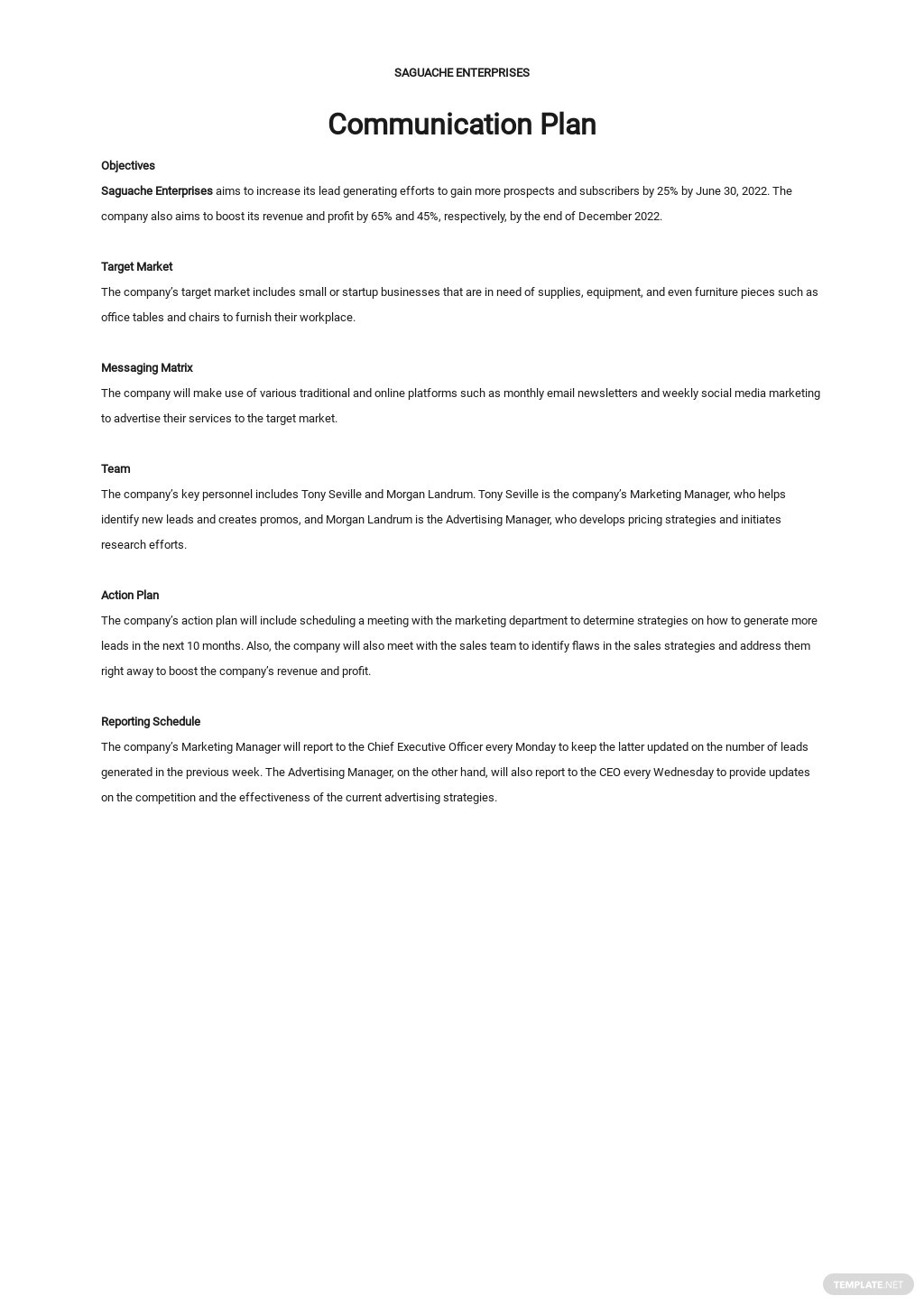 One Page Communication Plan Template