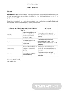 One Page Swot Analysis Template