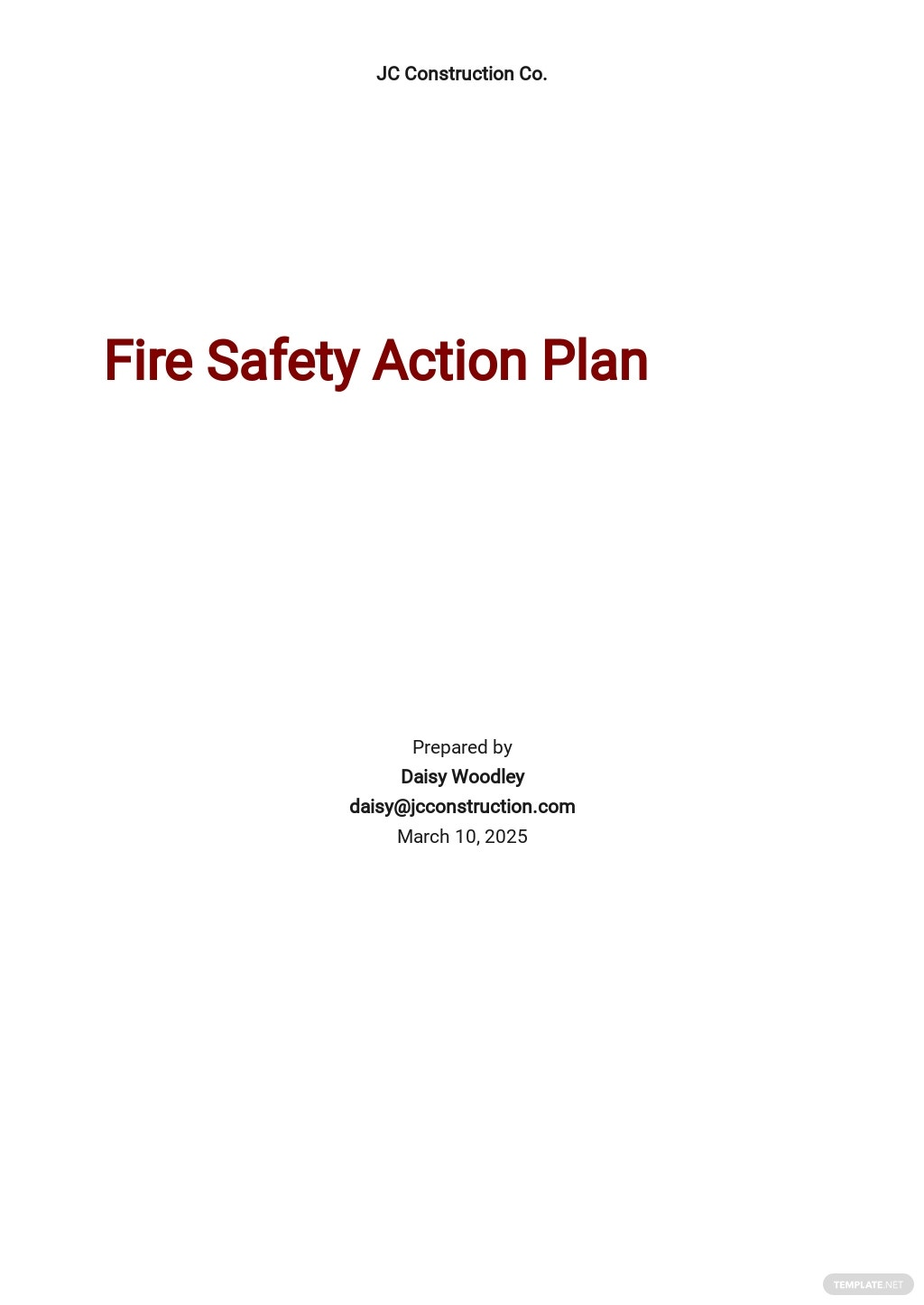 Fire Safety Plan for Construction Site Template