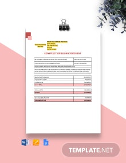 Construction Billing Statement Template