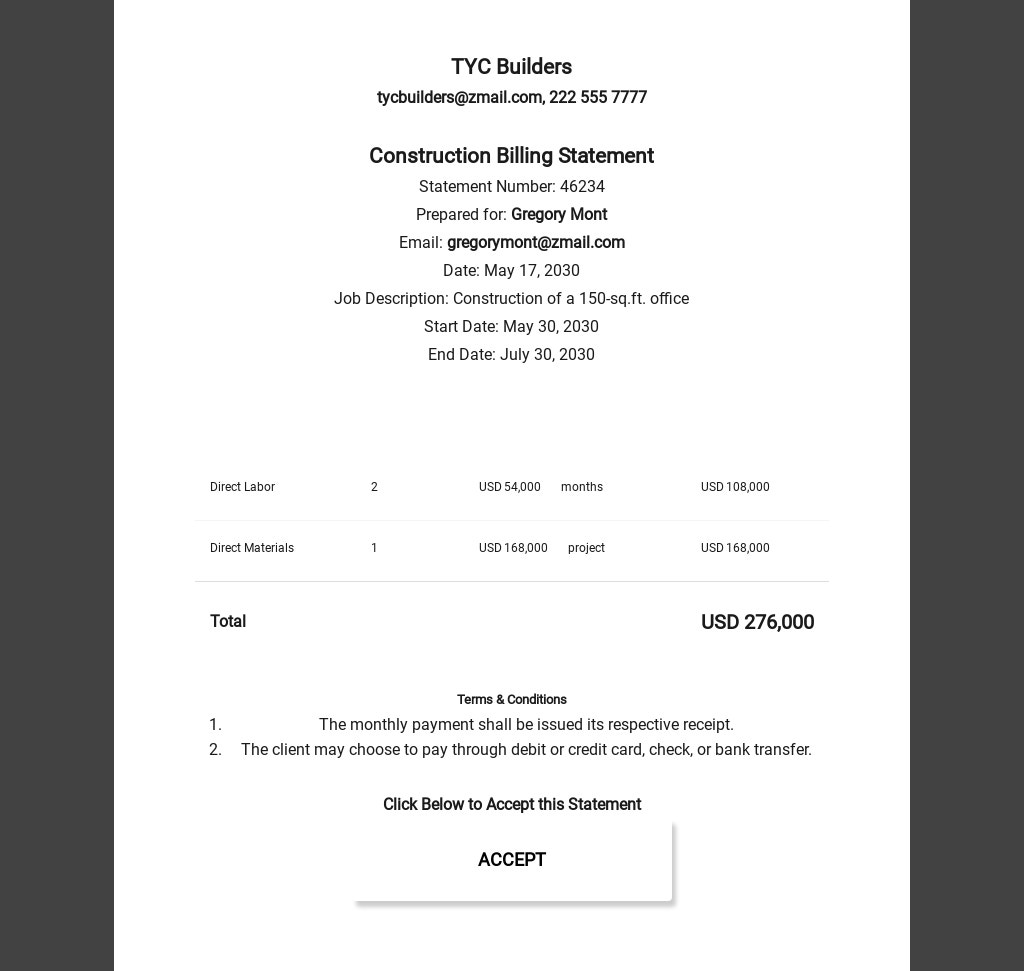 Construction Billing Statement Template