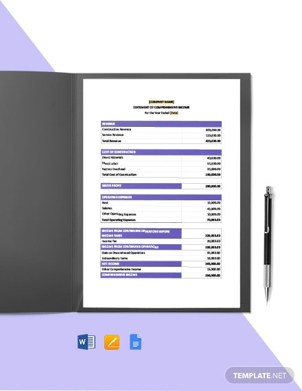 Construction Final Statement Template